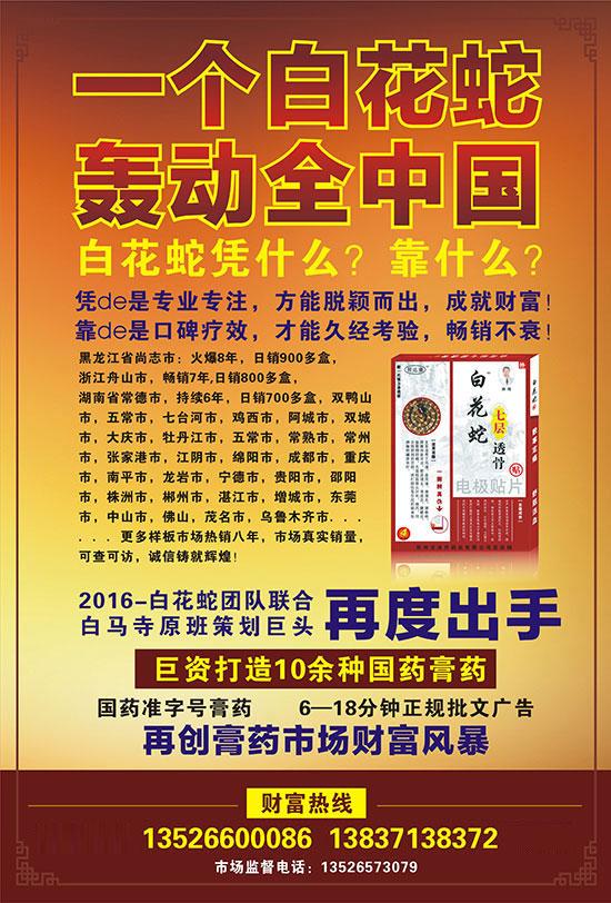 1168医药保健品网-【白花蛇七层透骨贴】招商代理彩页